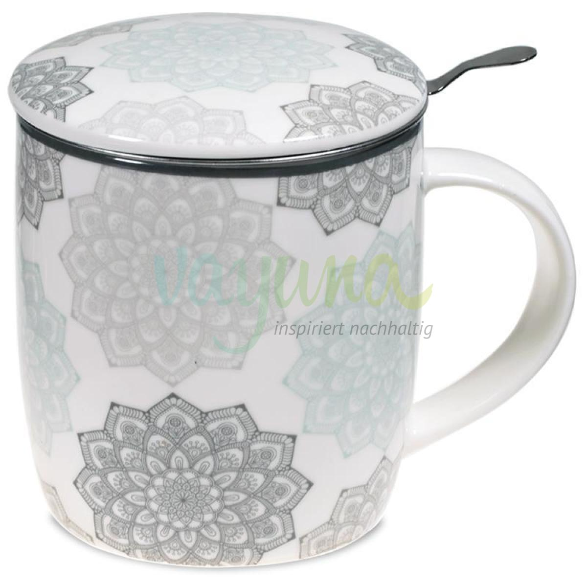 Set Teetasse Mandala grau - 400ml