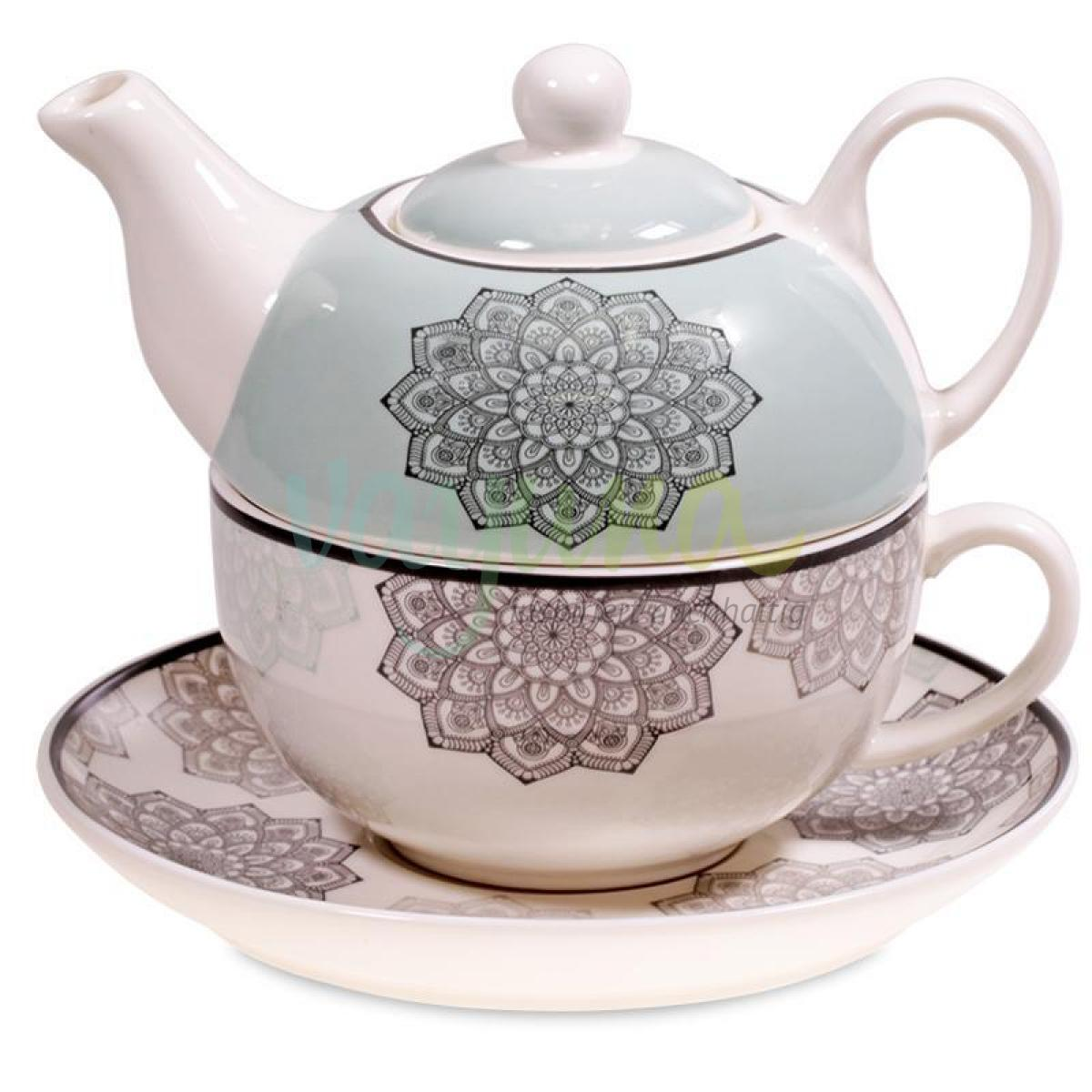 Tea for One Mandala grau